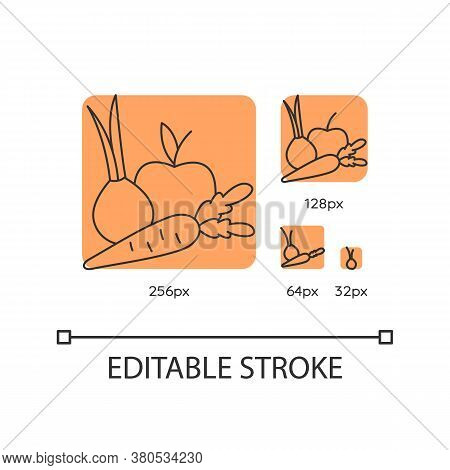 Fruits And Vegetables Orange Linear Icons Set. Fresh Organic Food. Healthy Recipe Ingredients. Thin