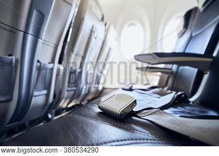 Empty Seats In Passenger Cabin Of Commercial Airplane.