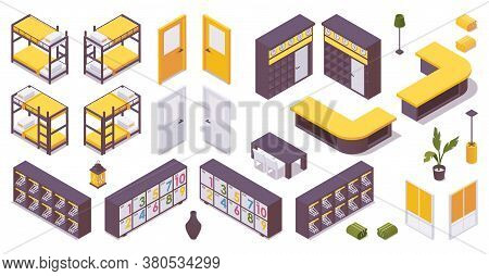Isometric Set Of Items For 3d Hotel Lobby, Hostel. Bunk Bed, Drawers For Clothes, Lobby, Door, Locke