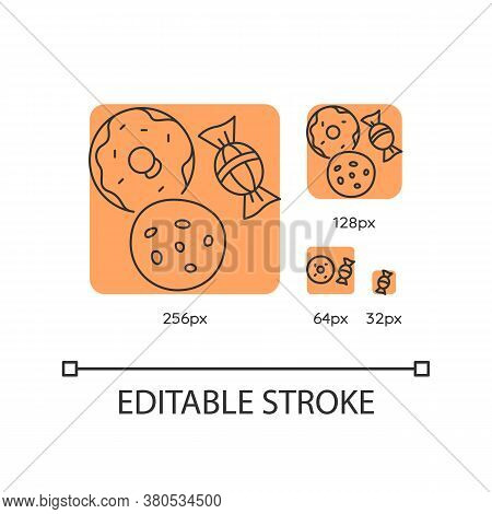 Cookie And Candy Orange Linear Icons Set. Sweets Products. Donut With Icing. Bakery Goods. Thin Line