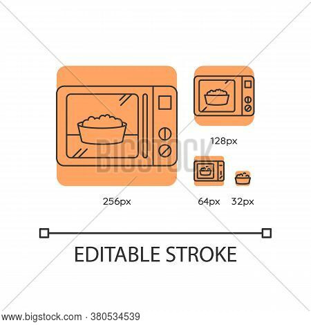 Ready Meal Orange Linear Icons Set. Microwave Food. Heated Popcorn In Bowl. Meal Preparation. Thin L