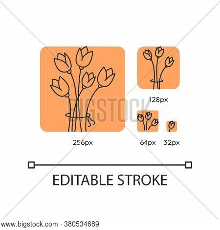 Flowers Orange Linear Icons Set. Bouquet For Greeting. Romantic Present. Gift For Valentine. Thin Li