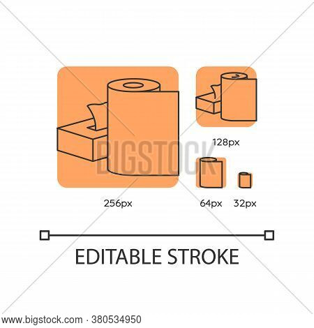 Paper Products Orange Linear Icons Set. Disposable Tissues In Box. Toiletries And Tablecloth. Thin L