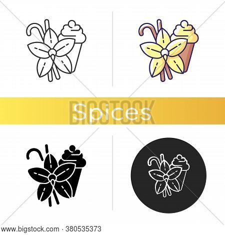 Vanilla Icon. Vanilla Flower And Sticks. Aromatic Flavor. Pastries And Confectionery Flavoring. Arom