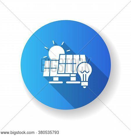 Solar Power Station Blue Flat Design Long Shadow Glyph Icon. Renewable Energy, Alternative Electrici
