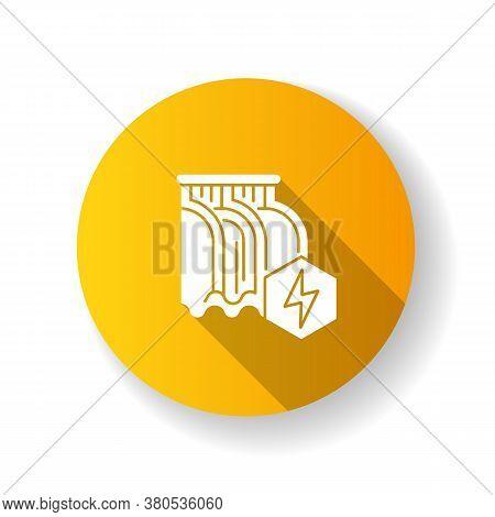 Hydroelectric Power Station Yellow Flat Design Long Shadow Glyph Icon. Alternative Energy, Hydropowe