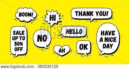 Speech Bubble. Set Of Chat Message, Cloud Talk, Speech Bubble. White Speech Bubble, Cloud Talk Isola