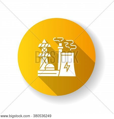 Energy Industry Yellow Flat Design Long Shadow Glyph Icon. Electricity Manufacturing, Environment Po