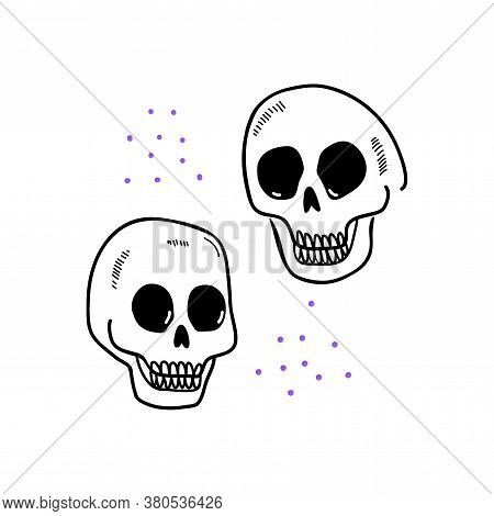 Halloween Doodle Spooky Skulls. Fun Hand Drawn Icon Elements For Halloween Decorations And Sticker.