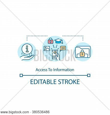 Access To Information Concept Icon. Accessible Knowledge Idea Thin Line Illustration. Open And Unlim