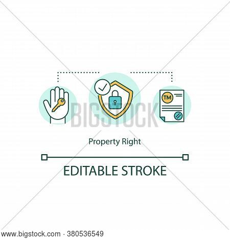 Property Right Concept Icon. Ownership Idea Thin Line Illustration.trademark Protection. Copyright.