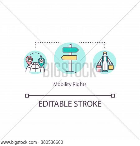 Mobility Rights Concept Icon. Freedom Of Movement Idea Thin Line Illustration. Traveling The Country