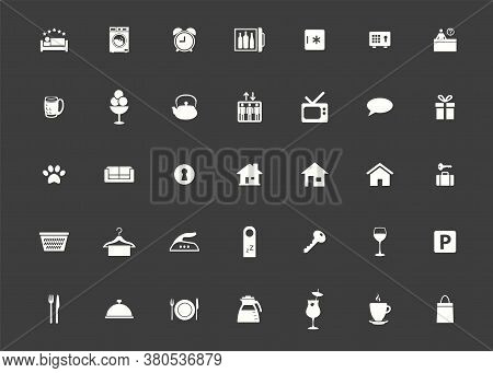 Icon Hotel Set. Vector Illustrations With Vacation, Booking And Rental Housing Simbols.