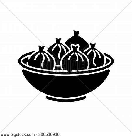 Khinkali Black Glyph Icon. Georgian Meal Recipe. Chinese Dumpling. Oriental Dish. National Culinary,
