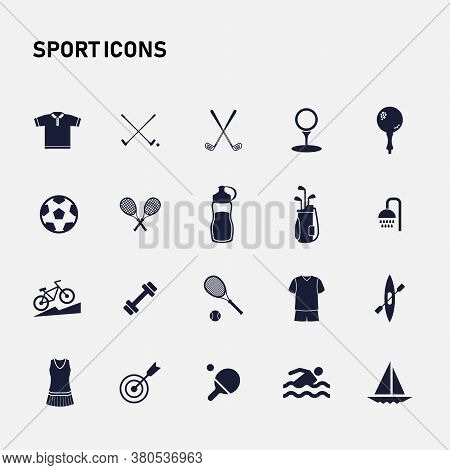 Icon Sport Set. Vector Illustrations With Tennis, Swimming, Football, Golf, Darts Simbols.