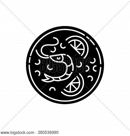 Paella Black Glyph Icon. Spanish Rice Dish With Seafood. Hot Meal With Fresh Shrimp. Shellfish Ingre