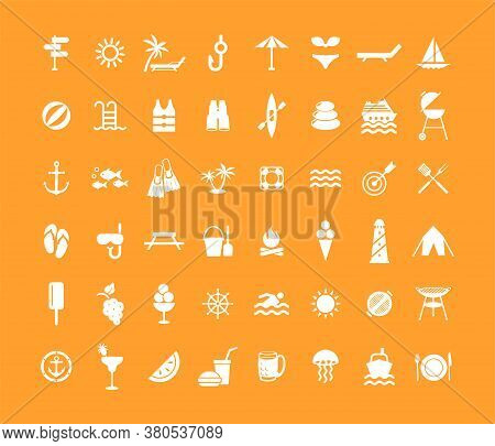 Icon Summer Set. Vector Illustrations With Vacation And Beach Simbols.