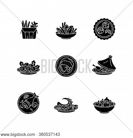 Restaurant Dishes Black Glyph Icons Set On White Space. Fish And Chips. Moules Frites. Falafel Dish.