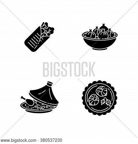 Traditional Dish Black Glyph Icons Set On White Space. Shawarma From Eastern Cuisine. Asian Dish. Ch