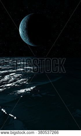 Moonlight Night Landscape  Reflection In Water. Night Scene Background. 3d Illustration