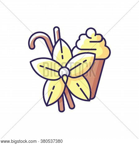 Vanilla Rgb Color Icon. Vanilla Flower And Sticks. Aromatic Flavor. Pastries And Confectionery Flavo