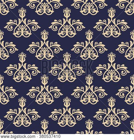 Classic Seamless Vector Pattern. Dark Blue And Golden Damask Orient Ornament. Classic Vintage Backgr