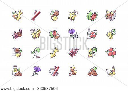 Asian Rgb Color Icons Set. Culinary Herbs. Cooking Ingredients. Natural Supplements. Cloves And Star