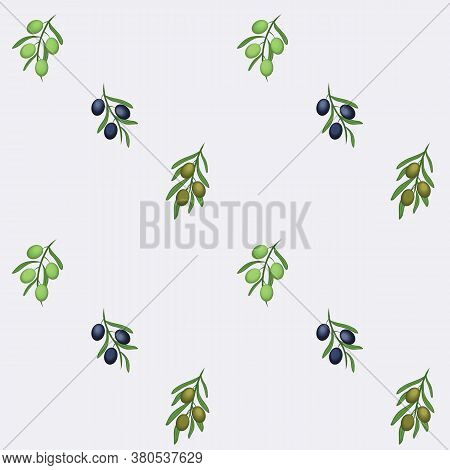 Greek Green, Blue Olive Brunches Repeat Vector Design