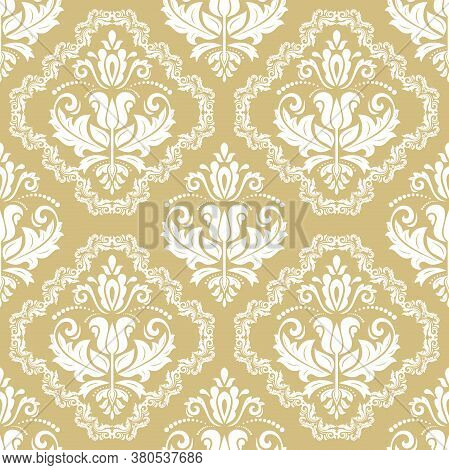 Classic Seamless Vector Yellow And White Pattern. Damask Orient Ornament. Classic Vintage Background