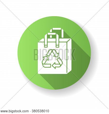 Reusable Grocery Bag Green Flat Design Long Shadow Glyph Icon. Zero Waste, Sustainable Lifestyle. Ec
