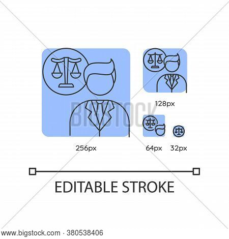 Legal Services Blue Linear Icons Set. Juridical Consultation, Legal Advice And Support. Thin Line Cu