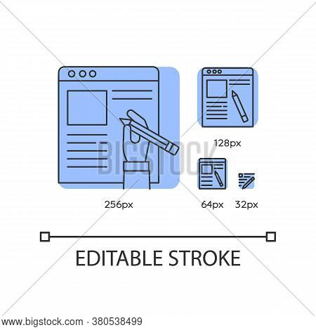 Copywriter, Article Author Blue Linear Icons Set. Essay Writing And Editing, Journalism. Thin Line C