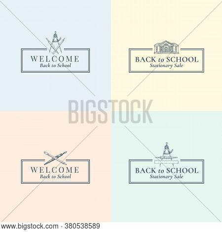 Back To School Stationary Vector Signs, Symbols Or Logo Templates Set. School Building, Pen, Compass