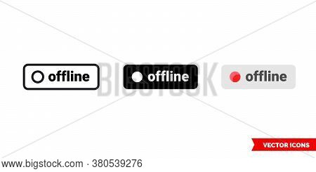 Offline Icon Of 3 Types Color, Black And White, Outline. Isolated Vector Sign Symbol.