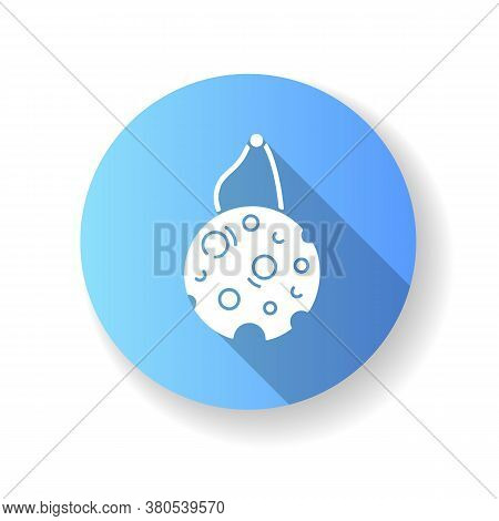 Eco Sponge Blue Flat Design Long Shadow Glyph Icon. Sustainable Lifestyle, Zero Waste. Responsible C