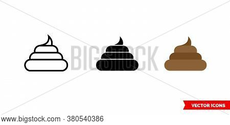 Pile Of Poo Icon Of 3 Types Color, Black And White, Outline. Isolated Vector Sign Symbol.