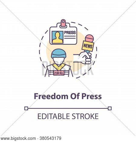 Freedom Of Press Concept Icon. Freedom Of Media And Communication Idea Thin Line Illustration. Journ
