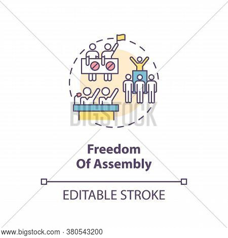 Freedom Of Assembly Concept Icon. Peaceful Mass Protest Freedom Idea Thin Line Illustration. Freedom
