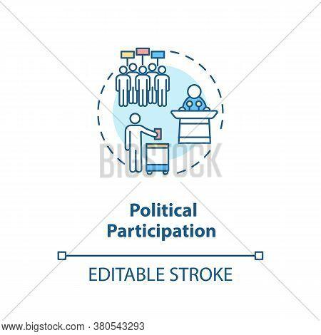 Political Participation Concept Icon. Political Involvement Idea Thin Line Illustration. Activists.