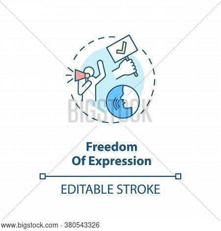 Freedom Of Expression Concept Icon. Freedom Of Speech Idea Thin Line Illustration. Fundamental Human