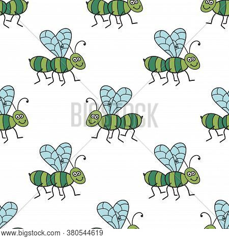 Seamless Pattern With Cartoon Doodle Linear Midge, Fly. Childlike Insect Background. Vector Illustra