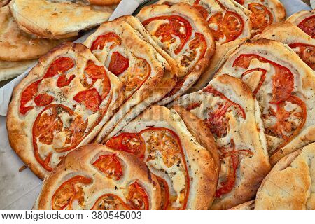 Italian Food: Traditional Focaccia, Schiacciata Of Tuscany, A Flat Oven-baked Bread Product With Oli