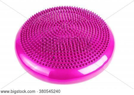 Pink Inflatable Balance Disk Isoleated On White Background, It Is Also Known As A Stability Disc, Wo