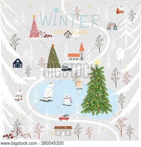 Vector Winter Landscape In Village,cute Winter Wonderland At Countryside With Snow Falling, Polar Be