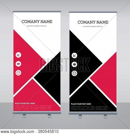 Abstract Shapes Modern Exhibition Advertising Trend Business Roll Up Banner Stand Poster Brochure flat design template creative concept. Presentation. Cover Publication.