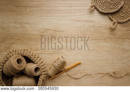 Creative Composition With Natural Jute Twine Roll - Linen Or Cannabis And Body Jute Washclothes Or F