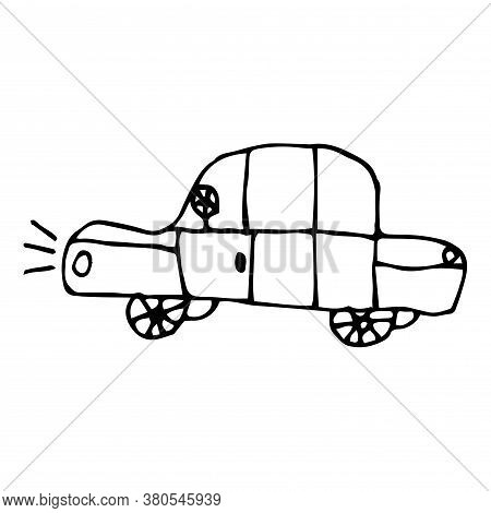 Cartoon Doodle Car Isolated On White Background. Taxi In Childlike Style. Vector Illustration.