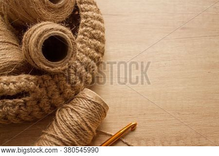 Flat Lay Composition With Natural Jute Twine Roll - Linen Or Cannabis On Wooden Background With Copy
