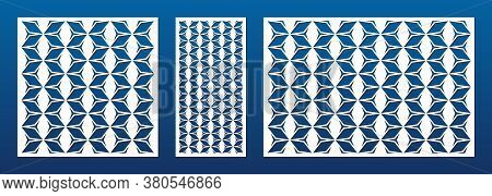 Decorative Panel For Laser Cutting. Cnc Pattern Set. Cutout Silhouette With Geometric Texture, Grid,