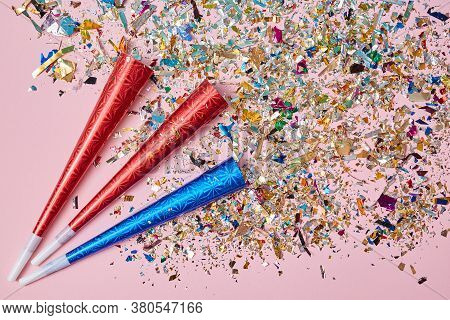 Festive Event. Party. Celebration Anniversary And Decor. Exploding Firecrackers Or Colourful Confett